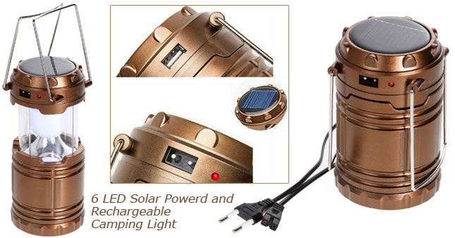 55% OFF! Price Further Reduced! 6 LED High Brightness Solar Powered and Rechargeable Camping Lantern worth Rs. 1,700 just for Rs. 750!