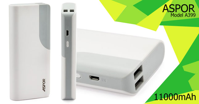 50% OFF! Original ASPOR Dream Smart 11000mAh Power Bank Rs. 4,500 for just Rs. 2,250 inclusive of Warranty!