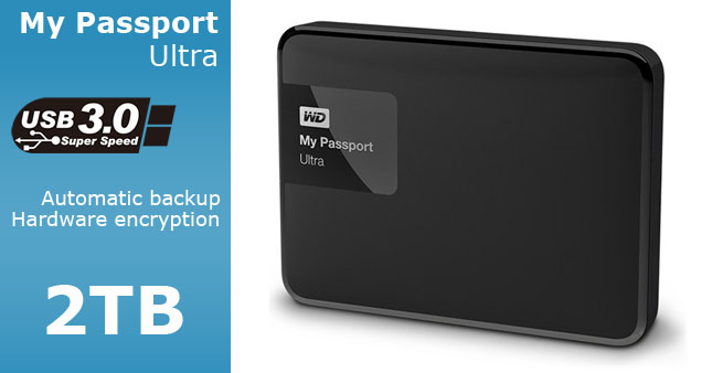 34% OFF! WD My Passport Ultra USB 3.0 2TB Portable Hard Disk Drive Rs. 23,700 for just Rs. 15,500 inclusive of Warranty!