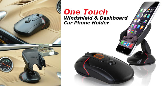 50% OFF! Multi-functional One Touch Dash Board & Windscreen Car Mobile Holder worth Rs. 2,200 for just Rs. 1,100!