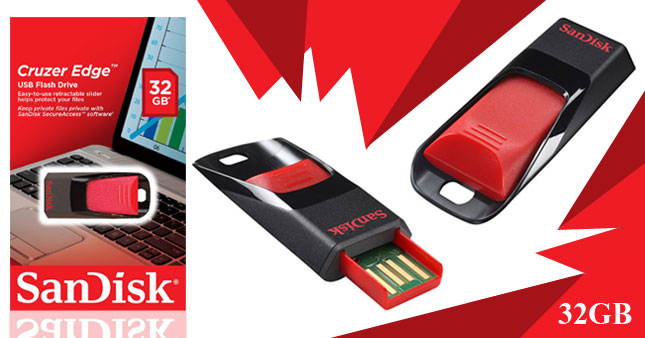 50% OFF! SanDisk Cruzer Edge 32GB USB Flash Drive worth Rs. 2,900 for just Rs. 1,450 Inclusive of Warranty!