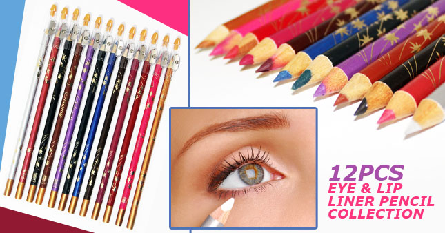 50% OFF! 12pcs 2 in 1 Eye Liner and Lip Liner Pencil Set with Sharpener for Women worth Rs. 1,200 for just Rs. 590!