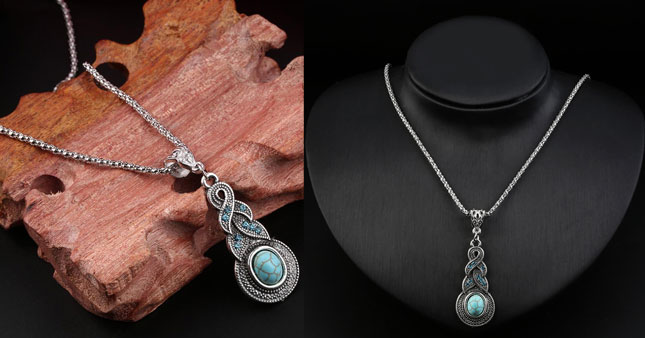 45% OFF! Elegant Turquoise Pendant Necklace worth Rs.690 for just Rs.380!