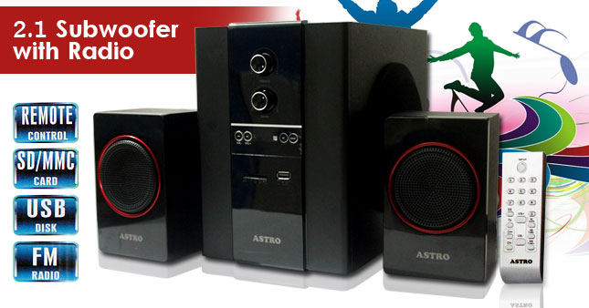 31%  OFF! 2.1 Channel Sub-woofer Speaker with Radio, Card Reader & USB worth Rs. 6,500 for just Rs. 4,500 inclusive of Warranty!
