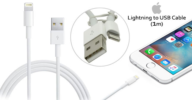 52% OFF! Original Apple Lightning to USB Charger Data Cable (MD818ZM/A) for iPhone 5 to 6s worth Rs. 2,000 for just Rs. 950!