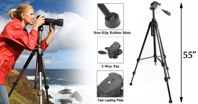 53% OFF! Professional Aluminium Portable Travel Tripod for DSLR camera / Mini Projectors worth Rs. 8,500 for just Rs. 3,950!