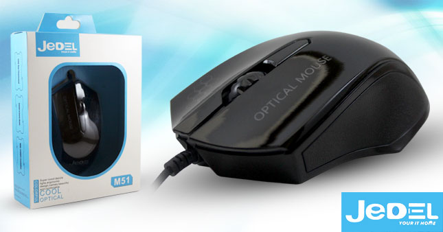 40% OFF! Comfortable Ergonomic Design JEDEL M51 1000dpi Wired Optical Mouse worth Rs. 950 for just Rs 550!