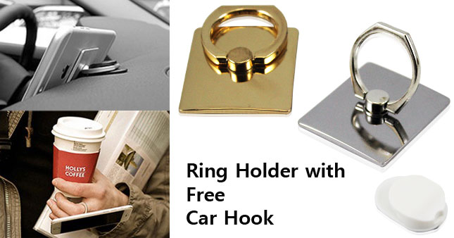 41% OFF! Rotatable Metal Phone Ring Holder with free Car Hook worth Rs. 600 for just Rs 350!