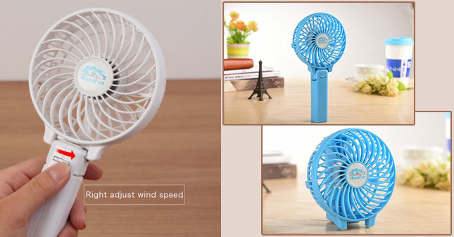 50% OFF! Rechargeable Portable Handheld Super-wind Mini Fan worth Rs.1,300 for just Rs.650!
