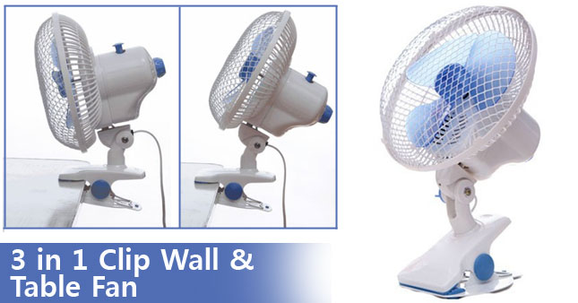 50% OFF! Portable 3 in 1 Clip Wall and Table Fan worth Rs.3,900 for just Rs.1,950 Inclusive of Warranty!