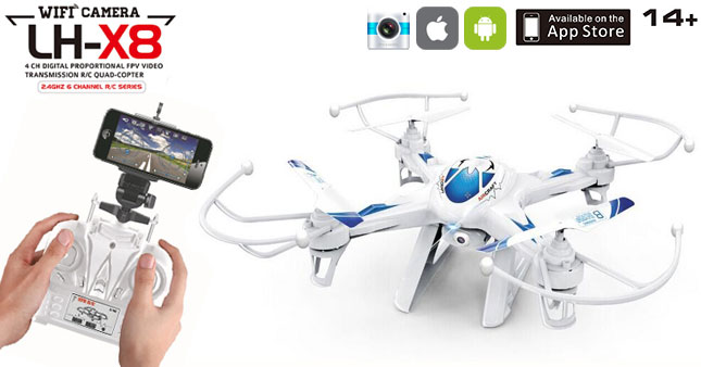32% OFF! 2.4G 6 Axis Gyro FPV Real-time Video Streaming Camera Quad-Copter Drone with iOS & Android WiFi Control worth Rs.18,500 for just Rs.12,500!