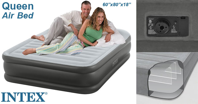 intex fibertech queen deluxe airbed with inbuilt air pump worth rs27500 for just rs16500