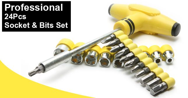 50% OFF! Professional 24pcs Socket and Bits Set worth Rs.699 for just Rs.350!
