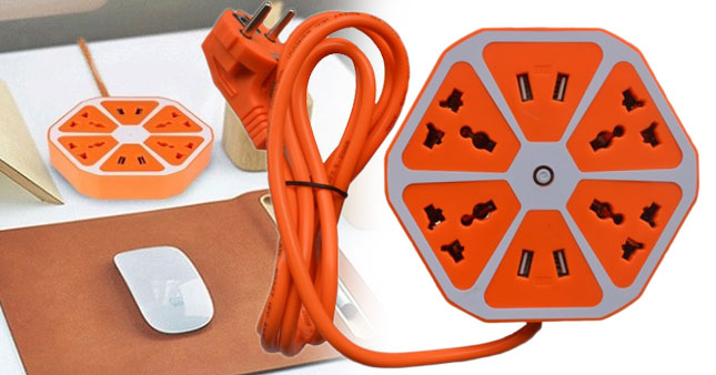 55% OFF! Price Further Reduced! Universal 4 USB Hexagon Power Socket Extension worth Rs.1890 for just Rs.850!