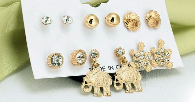 50% OFF! 6 Pair Crystal Tortoise Elephant Shape Gold Plated Stud Earrings Set worth Rs. 1,500 for just Rs. 750!