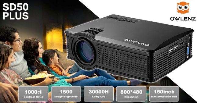 50% OFF! Most Cost-effective Owlenz SD50-Plus 1500 Lumens  high-performance Mini LED projector worth Rs.35,000 for just Rs.17,500 inclusive of Warranty!