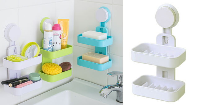 30% OFF! Double Layer Soap Box with Suction Cup Holder worth Rs.550 for just Rs.380!