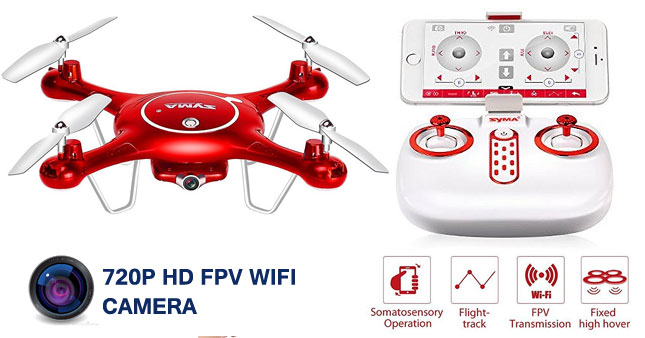 52% OFF! SYMA X5UW Quadcopter WIFI 720P HD Camera FPV Real Time Transmission Drone with Somatosensory Control And Duel Video Recording worth Rs. 35,000 for just Rs. 16,500!