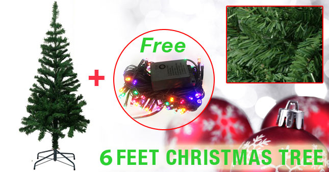 62% OFF! Price further reduced! Get Beautiful 6 Feet Artificial Christmas Tree worth Rs. 3,950 for just Rs. 1,500 with Free Multi-Color String Fairy Light!