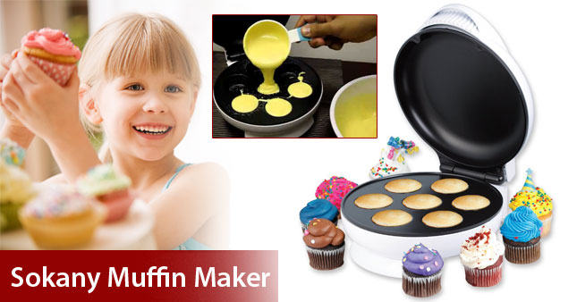 43% OFF! Sokany Non Stick Muffin & Cupcake Maker (AJ-3104A-M07) worth Rs.4850 for just Rs.2750 Inclusive of Warranty!