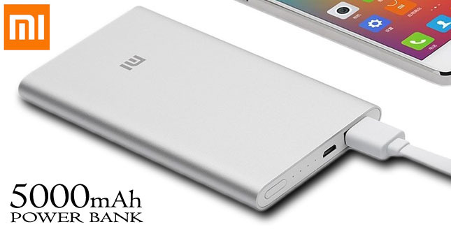 50% OFF! Original Mi 5000mAh Slim Power Bank worth Rs. 3,900 for just Rs. 1,950 inclusive Warranty!