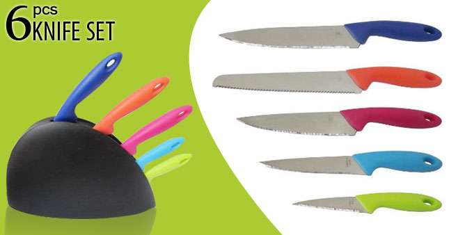 41% OFF! High Quality 6 Piece Knife Block Set worth Rs. 1,450 For just Rs. 850!
