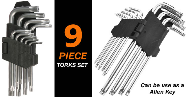 58% OFF! 9-Piece Torxs Set worth Rs. 850 for just Rs. 350!