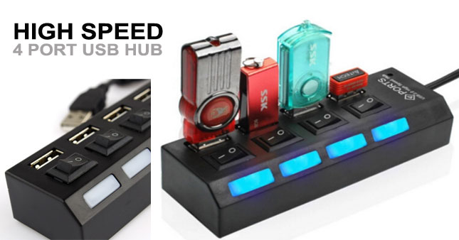 50% OFF! Hi-Speed 4 Port USB Hub worth Rs. 900 for just Rs. 450!