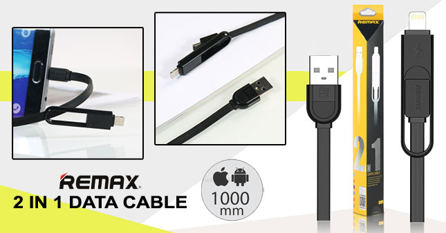54% OFF! 1000mm Remax RC-033T 2 in 1 Data Cable for Apple lightning USB & Micro USB worth Rs. 1,650 for just Rs. 750 inclusive of Warranty!