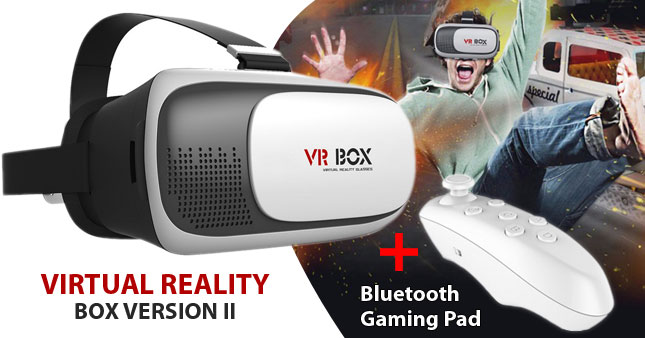 70% OFF! FLASH DEAL... Get VR BOX Version 2.0 Virtual Reality 3D Glasses for Smartphones with free Bluetooth Controller worth Rs. 5,000 for just Rs 1,499!