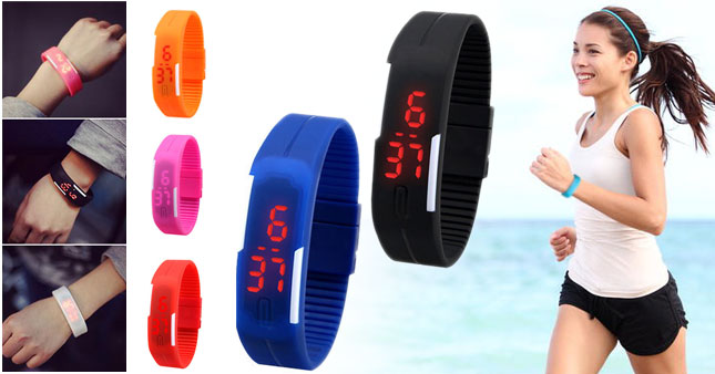 50% OFF! Unisex Unique Designer Silicone LED Bracelet Band Watch for Men & Women worth Rs. 700 for just Rs. 350!