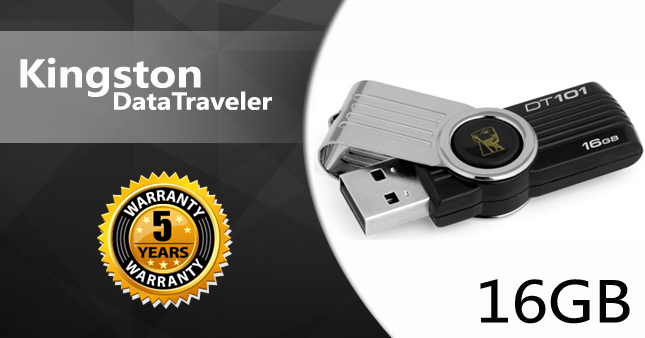 43% OFF! Kingston 16GB USB Flash Drive worth Rs. 1,680 for just Rs. 950 inclusive of Five Year Warranty!