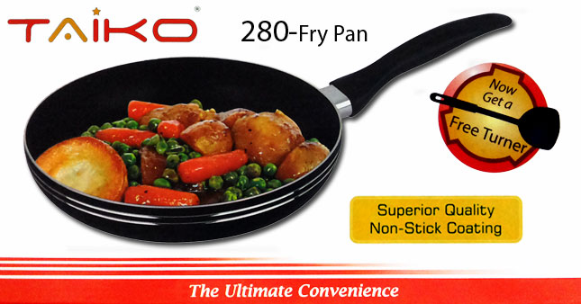 50% OFF! Taiko 280 Non-Stick Fry Pan with a Turner worth Rs. 2,600 for just Rs. 1,300!