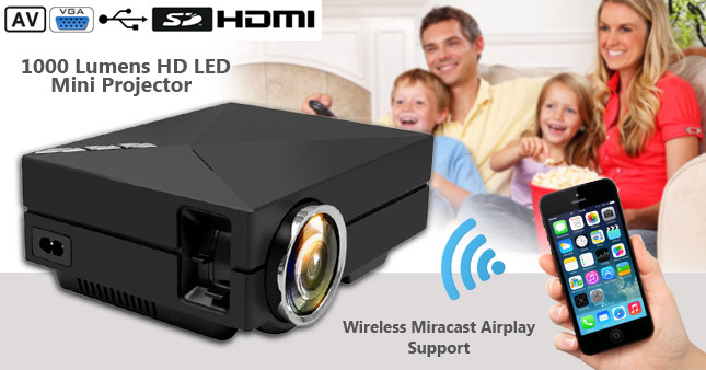 50% OFF! Price further reduced! Get 1000 Lumens Mini LED Home Theater Projector(GM60A) with Miracast Airplay Function worth Rs.40,000 for just Rs.19,500 inclusive of Warranty!
