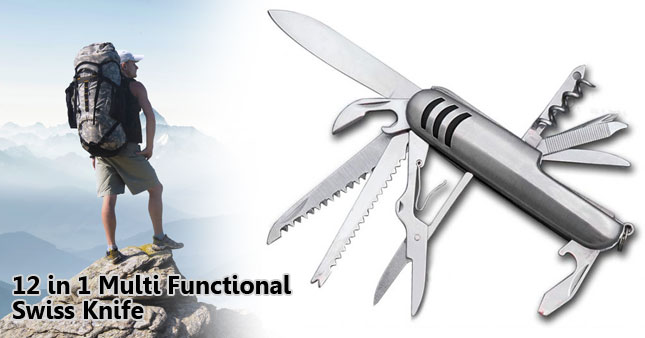 50% OFF! 12 in 1 Multi Functional Swiss Knife worth Rs. 700 for just Rs. 350!