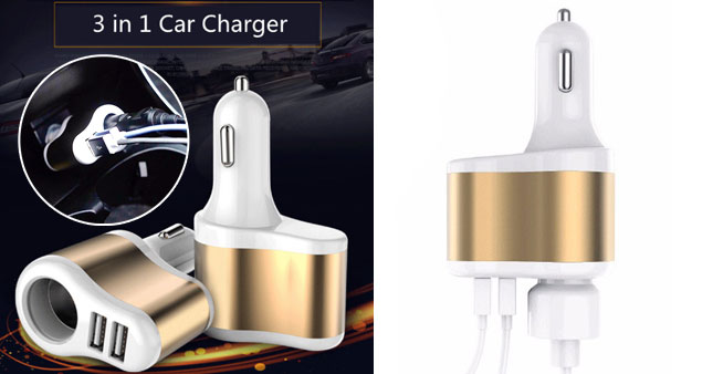 50% OFF! 3 in 1 Car Charger worth Rs. 1,100 for just Rs. 550!