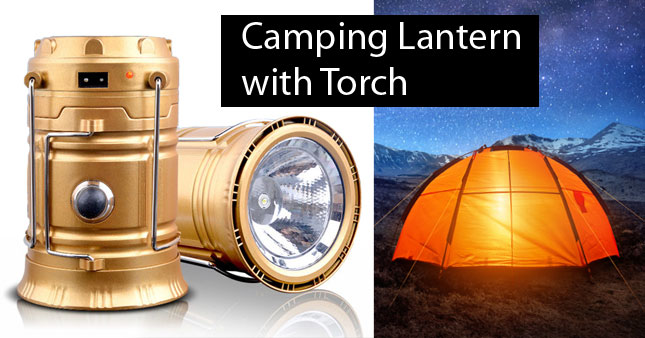 50% OFF! 6 LED Solar Powered and Rechargeable Camping Lantern with Torch worth Rs. 1,500 for just Rs. 750!