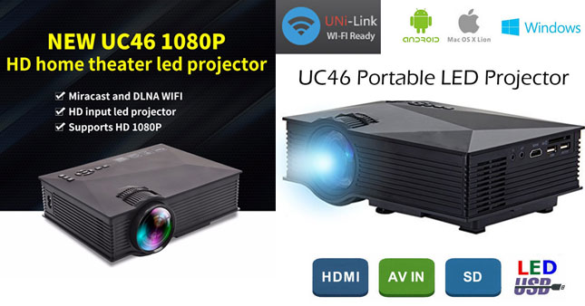 54% OFF! Get UNIC UC46 1200 Lumens Portable Mini LED WIFI Home Theater Multimedia Projector worth Rs. 35,900 for just Rs. 16,500 inclusive of Warranty!
