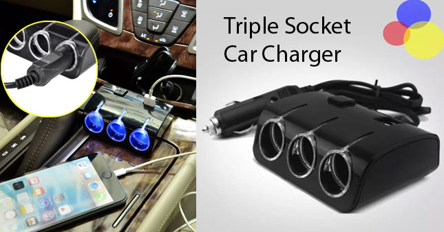 40% OFF! Triple Socket Car Charger with 2 USB Ports worth Rs. 990 for just Rs. 590!
