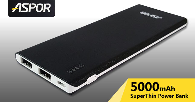 40% OFF! Original ASPOR A352 5000mAh Super Thin Power Bank worth Rs. 3,800 for just Rs. 1,900 Inclusive Of Warranty!