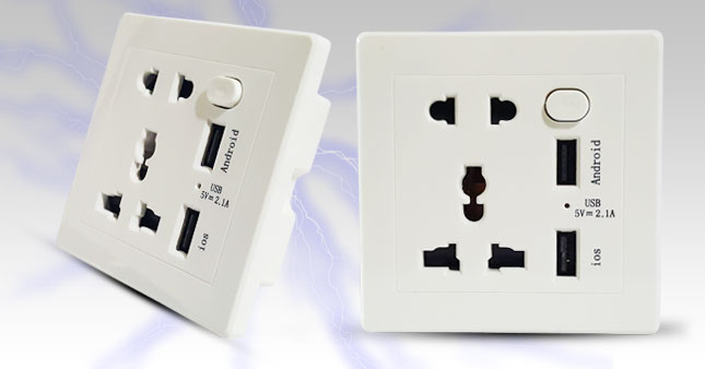 40% OFF! Dual USB Wall Power Socket with Indicator Light and Switch worth Rs. 1,850 for just Rs. 1,100!