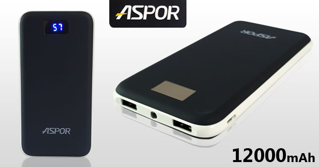 41% OFF! Original ASPOR A386 12000mAh Power Bank worth Rs. 5,500 for just Rs. 3,200 Inclusive of Warranty!!