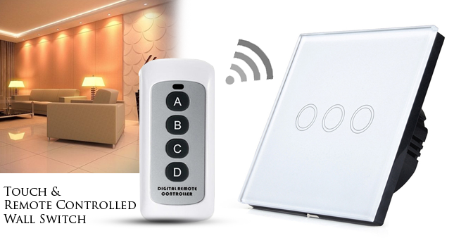 40% OFF! 3 gang Crystal Glass Panel Remote Control Wall Touch Switch worth Rs.6,500 for just Rs. 3,850!