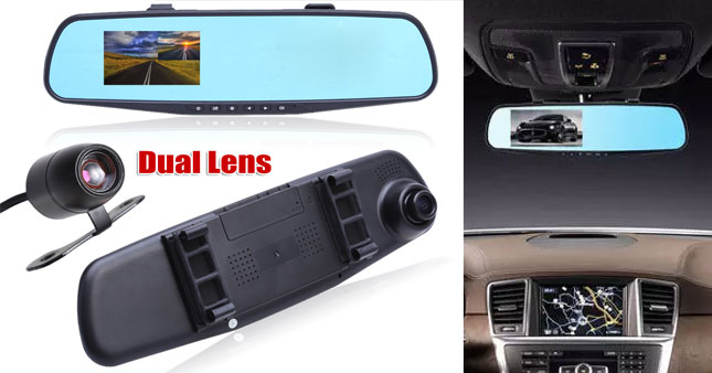 40% OFF! Rear-view Mirror Dual Channel Car DVR worth Rs. 9,950 for just Rs. 5,950!