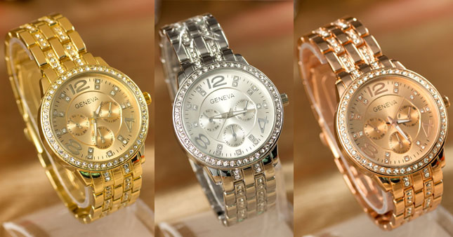 50% OFF! Luxury Style Analog Quartz Rhinestone Ladies Wrist Watch with box worth Rs. 2,300 for just Rs. 1,150!