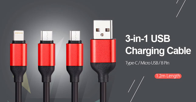 50% OFF! 3 in 1 Micro USB/Type-C/Apple lightning Connector Charging Cable for Android iPhone worth Rs. 700 for just Rs. 350!