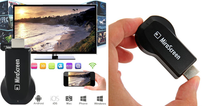40% OFF! MiraScreen 1080P Miracast/DLNA/Airplay WIFI Display Dongle worth Rs. 4,650 for just Rs. 2,800!