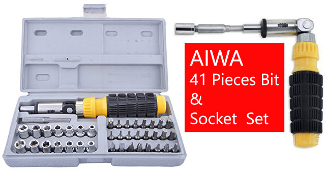 50% OFF! AIWA 41 Pieces Bit & Socket Screw Driver Set worth Rs. 1300 for just Rs. 650!
