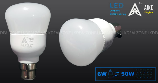 40% OFF! AIKO Super Bright Energy Saving 6W Pin Type(B22) LED Bulb worth Rs. 500 for just Rs. 300 Inclusive Of Warranty!