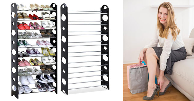 42% OFF! Stackable 10 Tier Shoe Rack worth Rs. 4,250 for just Rs. 2,450!